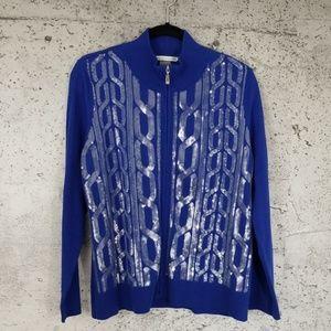 HANUKKAH NYGARD Zippered Cardigan Blue L